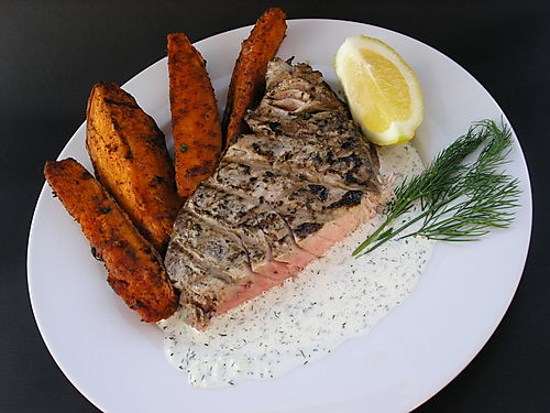 Grilled Yellowfin Tuna With Cucumber Dill Sauce Spatulas